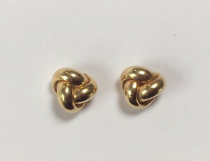 Vintage Quality 9ct Gold Knot Earrings -Each Post Marked 375