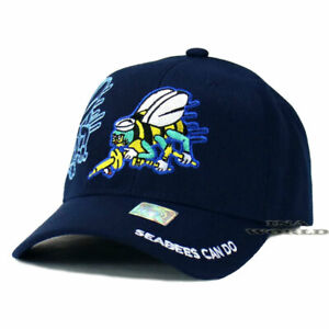 U.S. NAVY Hat SEABEES CAN DO Official Military Licensed Baseball Cap- Navy Blue