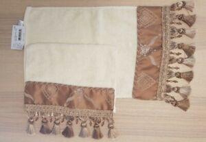 NWT CROSCILL HOME Bath & Hand Towel Embellished w Cream/Gold Beads & Tassels (2)