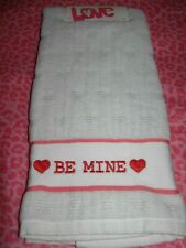 """One Happy Valentine's Day Holiday White Hand Towel Cute """"Be Mine"""" with Hearts"""