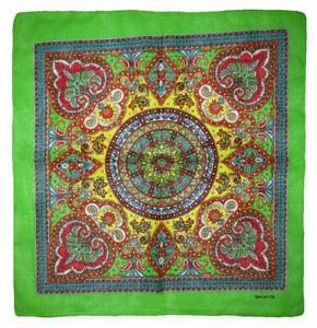 "22""x22"" Ornate Paisley Mosaic Multi Color Green 100% Cotton Bandana"