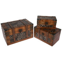 Animal Pattern Printed Wood Storage Trunk Box Set of 3 Antique Style Chests NEW