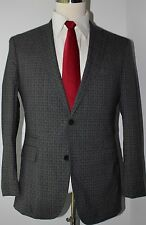 Hugo Boss Gray Check Wool Side Vented Two Button Suit 40 S Slim 35 37 Flat Pants