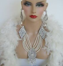 CZ SILVER FAUX PEARL NECKLACE EARRINGS BRIDAL PAGEANT STAGE DRAG QUEEN PARTY