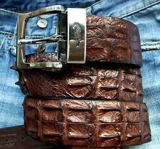 Mens Crocodile Hornback Skin Leather Belt in Brown with Silver Motif Buckle