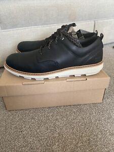 Men's CAT Brusk Lace Up Low Top Shoes Black Leather Size 11 BNIB