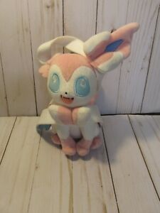 B3 Tomy Pokemon Fairy Eevee Evloution Pink White Sylveon Plush Stuffed Doll 10""