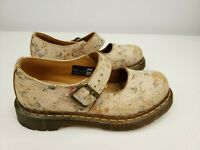 Doc Dr Martens 6 Cracked Distressed Floral Leather Cream Mary Jane Shoes