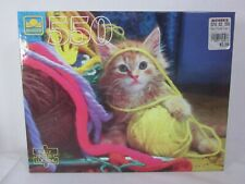 Golden 550 Piece Jigsaw Puzzle Kitten Playing in the Yarn SEALED