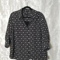 George Women's 2X Career Blouse Button Down Faux Cami Black White Geometric