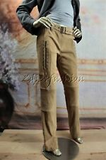 $3175 New CHRISTIAN DIOR Beige Tan Brown Suede Leather Stretchy Belt Pants 8 40