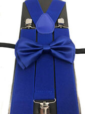 """Royal Blue Wedding Party Accessories Bow Tie & 1.5"""" in width Wide Suspender"""