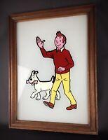 Rare Tintin Milou Hergé - tableau peinture sous verre opaque 52 cm- vintage 1970