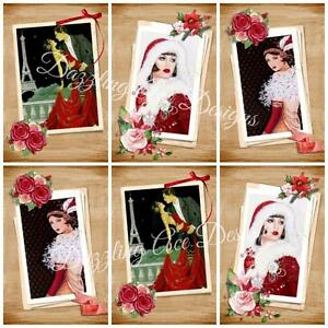 SEPIA XMAS ART DECO Ideal Embellishments, Card Making Toppers, Card Toppers (12)