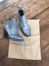 Acne Studios Ankle Boots Size 37 Grey Silver Ladies Shoes Star Boots Leather