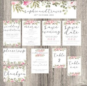 Wedding Invite - Save the Date - Thank you - RSVP - Evening - Love - Floral -