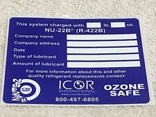 "NU-22B (R-422B) Sticker Label, ICOR INTERNATIONAL OZONE SAFE 3.5"" x 3"""
