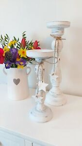 🌟 White Rustic Wooden Star CandleStick Large 36cm🌟
