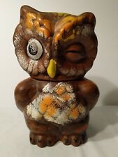 Vintage Winking Owl Ceramic Cookie Jar Made In USA