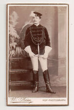Vintage CDV German Military Unusual Uniform Hat Riding Crop W. Risse Phot Marbug