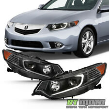 For [HID Type] 2009-2014 TSX LED Tube Black Projector Headlights Headlamps Pair