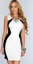 sexy Gogo Party Clubwear Stretch Kleid Minikleid Etuikleid weiß Einsätze schwarz