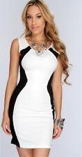 Sexy Gogo fiesta Clubwear Stretch minivestido vestido estuche vestido blanco insertos negro