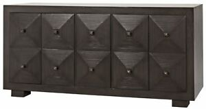 """67"""" Long Sideboard Solid Mahogany Four Door Two Drawer Dark Brown Finish"""