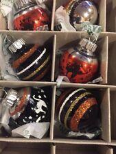 New Christopher RadkoShiny Brite Halloween Round Glass Ornaments Cat Bat