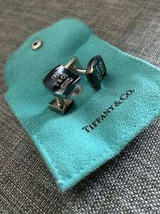 Tiffany & Co RARE Silver 1837 Square Titanium Cuff Links Cuff Link Cufflinks
