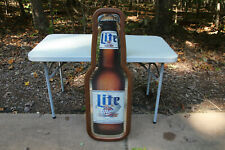 "MILLER LITE BOTTLE BEER SIGN shaped mirror vintage large 45"" NICE"