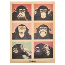 Monkey Adornment Home Decor Wall sticker Funny Retro Poster Kraft Orangutans C