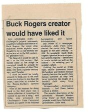 Vintage Newspaper Article About Buck Rogers Creator B/W  USED