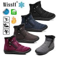 Men's Women Winter Warm Fur-lined Ankle Snow Boots Slip On Shoes Waterproof Size