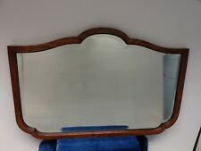 STUNNING ANTIQUE,VINTAGE OAK FRAMED/BEVELLED GLASS,CARTOUCHE SHAPED WALL MIRROR.