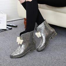 Women Sweet Girl's Bowknot Rubber Ankle Rainboots Waterproof Shoes Plus Sz mx00