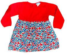 Jacadi Paris Red Blue Floral Liberty Print Sweater Dress Girls Sz 3