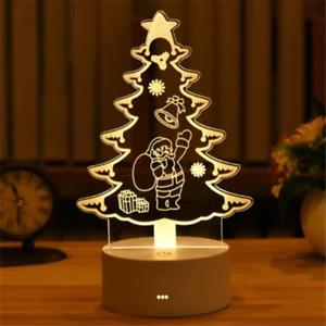 Christmas Tree 3D Lamp Acrylic USB LED Night Light Xmas Decoration kids Gift