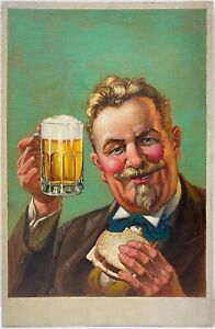 Large Illustration For Beer Advertisement OIL PAINTING Circa 1940 artist unknown