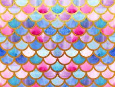 7X5FT Vinyl Beautiful Colors Mermaid Fish Scale Theme Studio Backdrop Background
