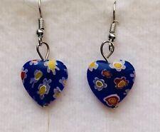 Stunning Cobalt Blue Millefiori Heart Drop Earrings