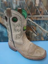 JOHN DEER LEATHER Taupe & Green cowgirl WESTERN BOOTS 5M YOUTH