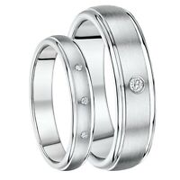 His & Hers 4&6mm Titanium Diamond Wedding Ring Set