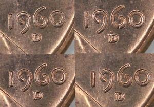 (4) 1960-D/D Large Date Lincoln Cent RPM FS-502
