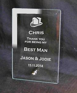 Personalised Engraved  Glass Plaque Best Man Usher Gift