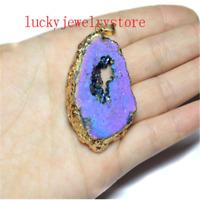 Wrapped Rainbow Titanium Crystal Agate Druzy Quartz Geode Pendant Bead WW75