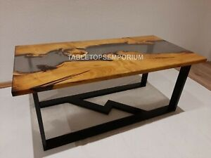 Smoke Epoxy Table, Custom Resin Table, Kitchen Dining Table, Clear River Table