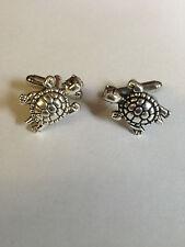 Turtle PT31 Silver Emblem on a Pair Of Cufflinks weddings birthday