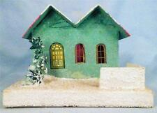 Vintage Christmas House Train Yard Putz Japan Green Hot Pink Roof Tree Fence