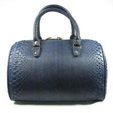 New Navy Blue Real Leather Python Snake Back Skin Women Duffle Shoulder Handbag